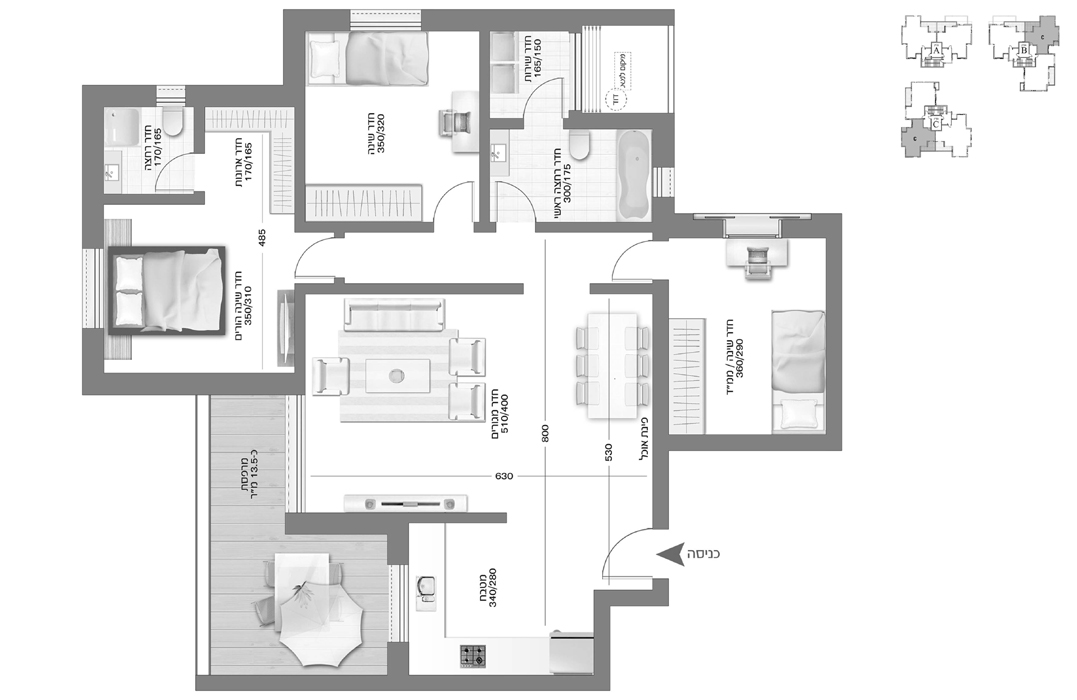 4 room apartment  ARNONA PLACE - 4 rooms - Tivuch Shelly